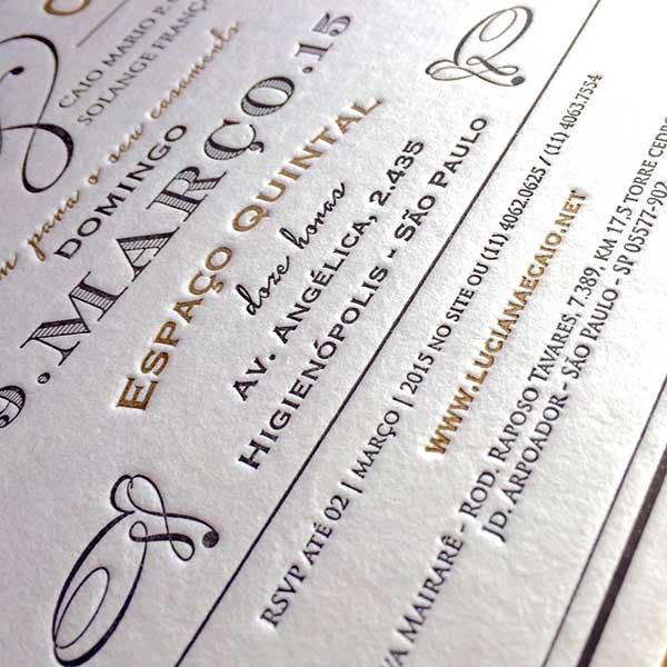 Convite de Casamento em Letterpress de Luciana e Caio