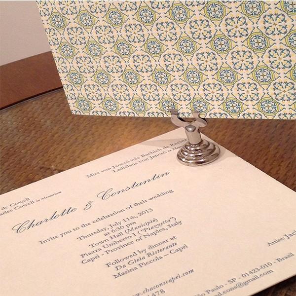 Convite de Casamento em Letterpress de Charlotte e Constantin