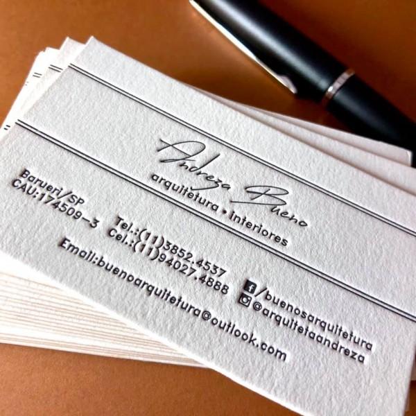 Cartão Social em Letterpress da Andreza Bueno