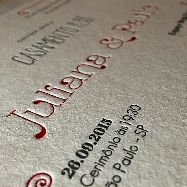 Convite de Casamento em Letterpress de Juliana e Paulo
