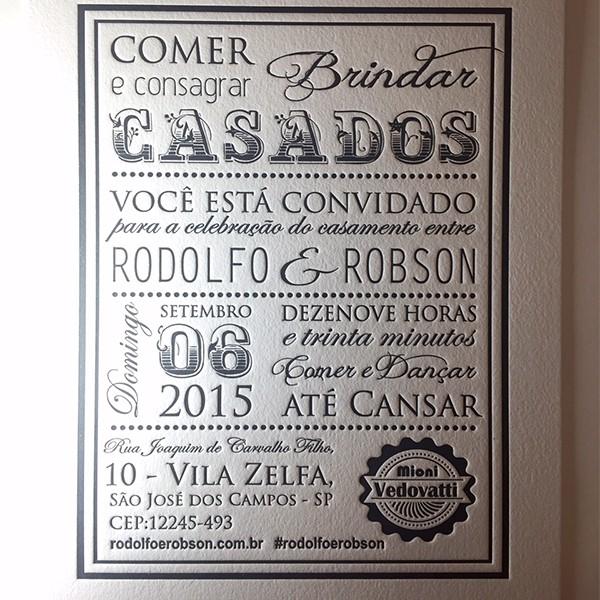Convite de Casamento em Letterpress de Rodolfo & Robson