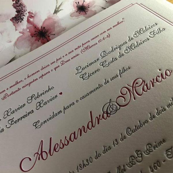 Convite de Casamento Alessandra e Marcio