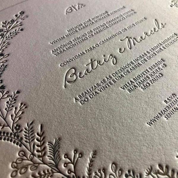 Convite de Casamento em Letterpress de Beatriz e Marcelo