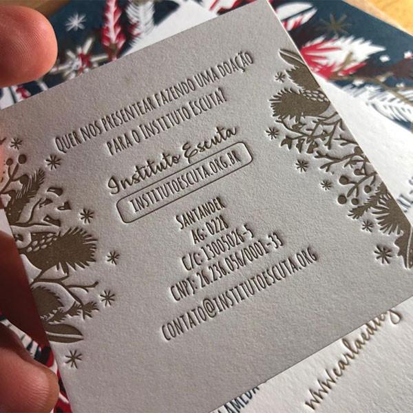 Convite de Casamento em Letterpress de Carla e Diego