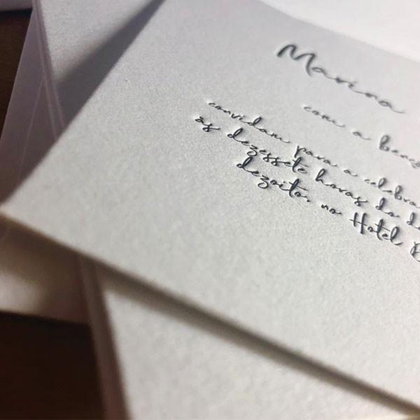 Convite de Casamento em Letterpress de Marina e Rodrigo