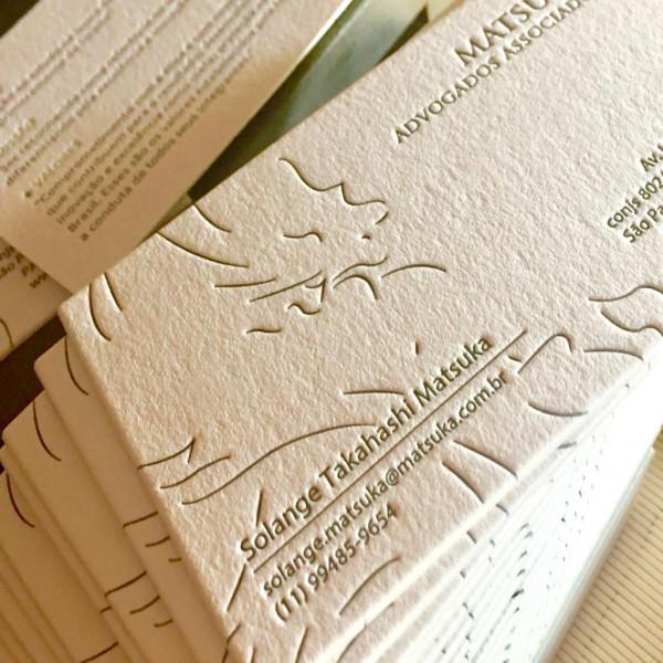 Cartões Corporativos em Letterpress de Matsuda Advogados Associados