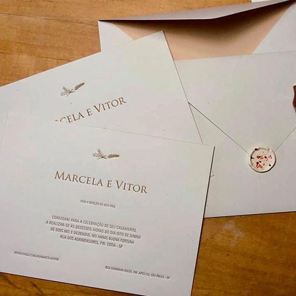 Convite de Casamento em Letterpress de Marcela e Vitor