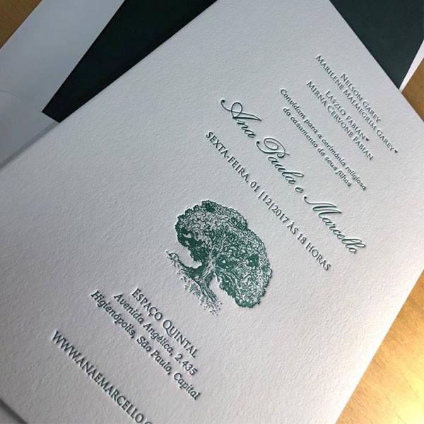 Convites de Casamento em Letterpress de Ana Paula e Marcello