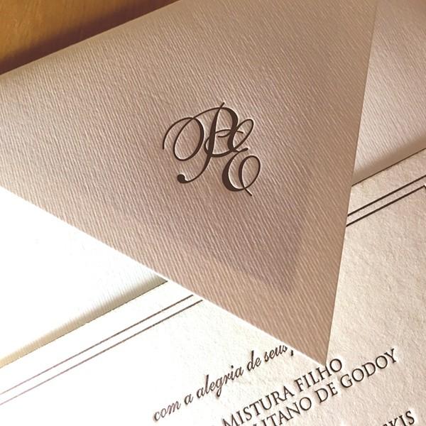 Convite de Casamento em Letterpress de Patrícia e Eduardo