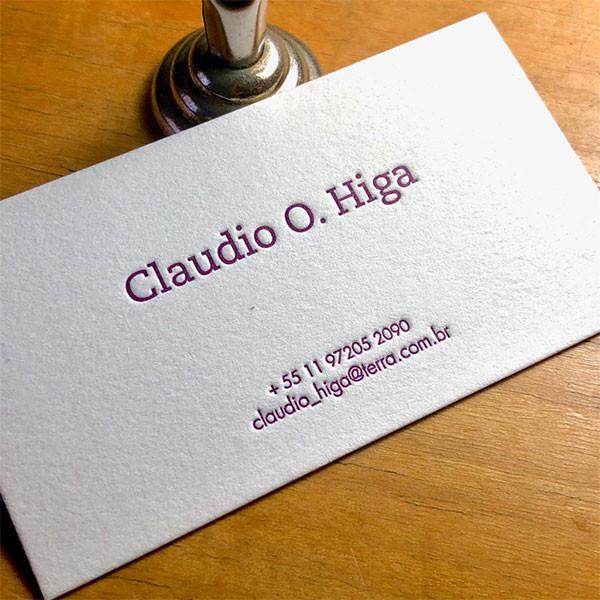 Cartões Sociais em Letterpress de Claudio Higa