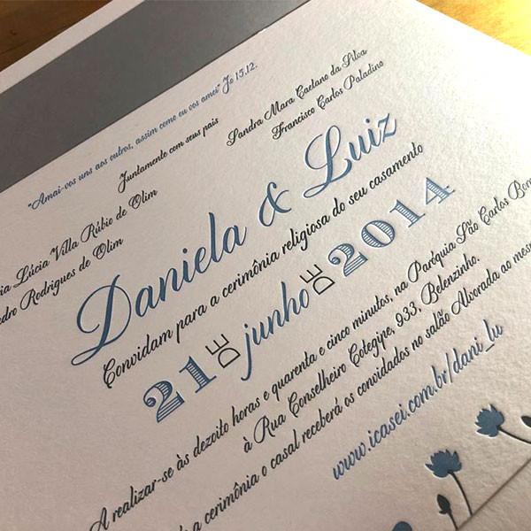 Convites de Casamento em Letterpress de Daniela e Luiz