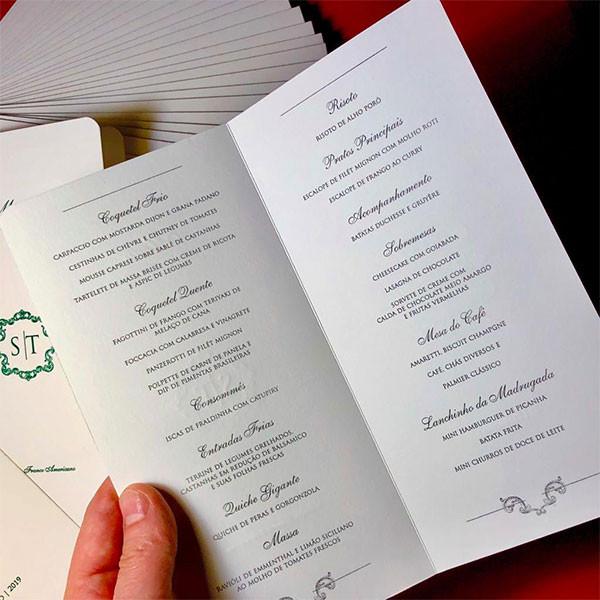 Menu de Casamento em Letterpress de Sabrina e Thiago