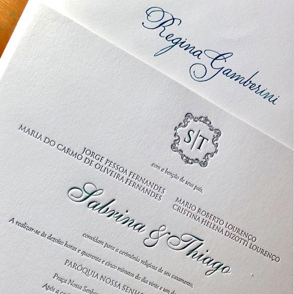 Convites de Casamento em Letterpress de Sabrina e Thiago