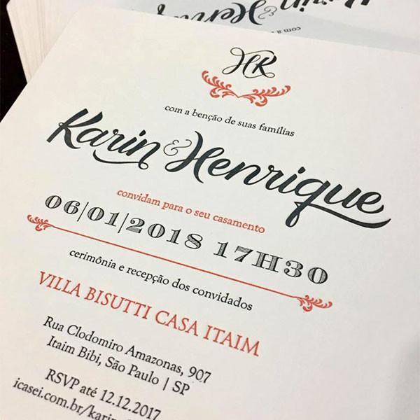 Convites de Casamento em Letterpress de Karin e Henrique
