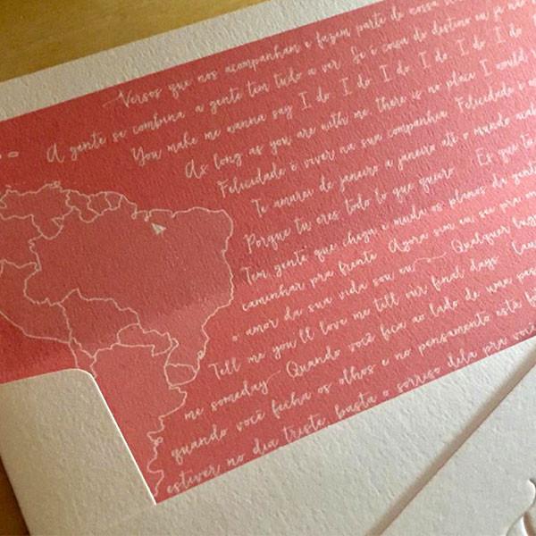 Convites de Casamento em Letterpress de Fabiana e Caio