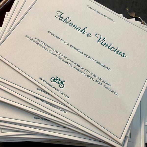 Convites de Casamento em Letterpress de Fabianah e Vinícius