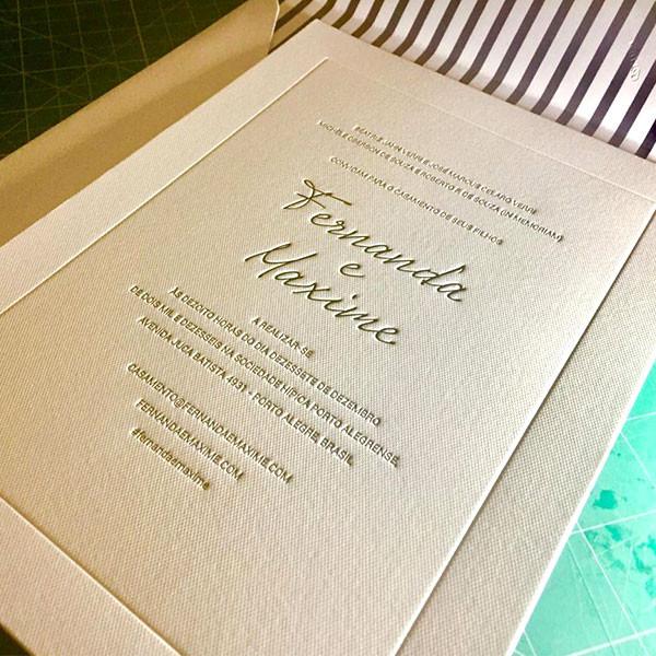 Convites de Casamento e Lacres em Letterpress de Fernanda e Maxime