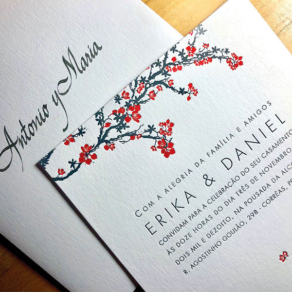 Convite de Casamento em Letterpress de Erika e Daniel