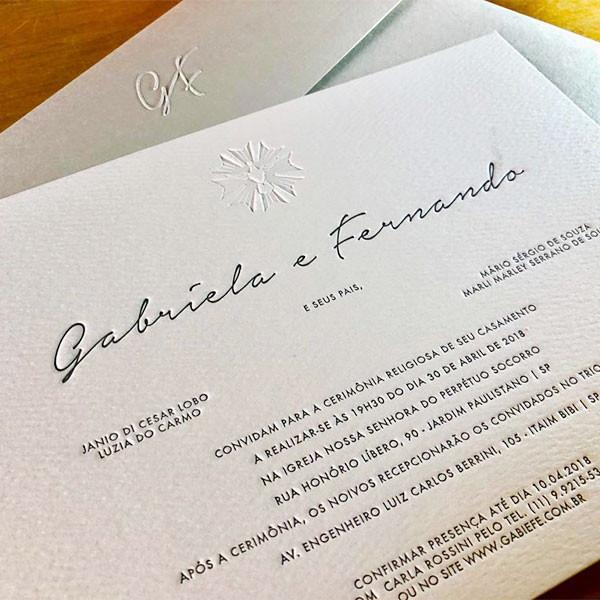 Convites de Casamento em Letterpress de Gabriela e Fernando