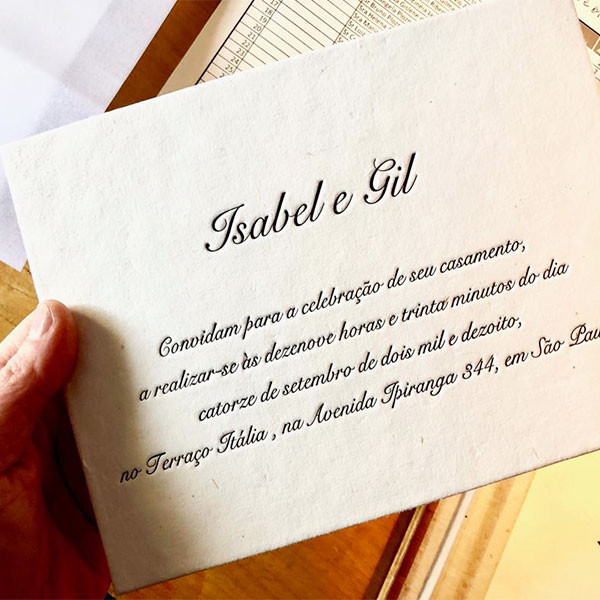 Convites de Casamento em Letterpress de Isabel e Gil
