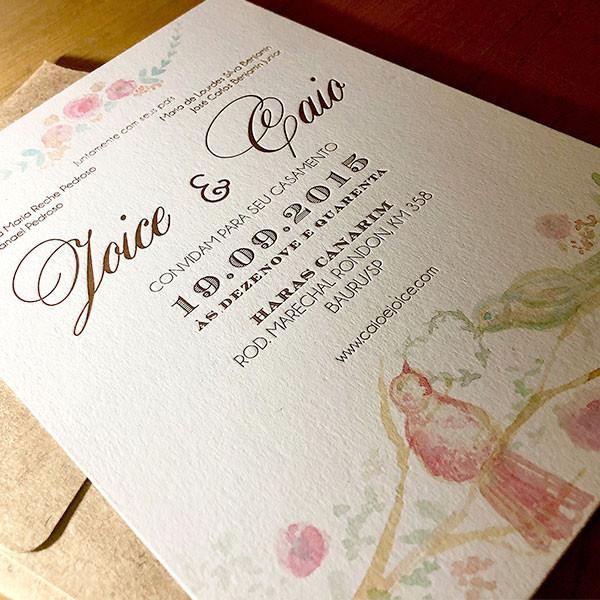 Convites de Casamento em Letterpress de Joice e Caio