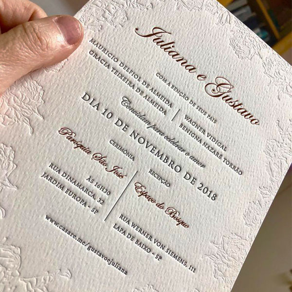 Convites de Casamento em Letterpress de Juliana e Gustavo
