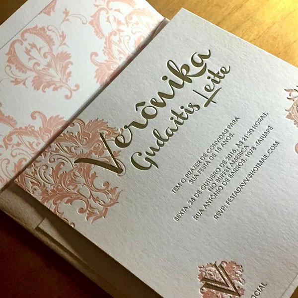 Convite de Aniversário em Letterpress de Veronica Leite