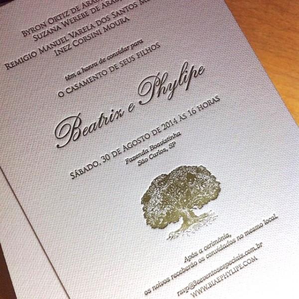 Convite de Casamentol em Letterpress de Beatriz e Phylipe