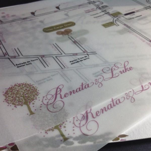 Convite de casamentol em Letterpress de renata e Luke