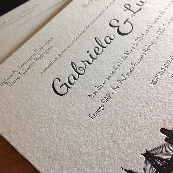 Convite de Casamentol em Letterpress de Gabriela e Luis