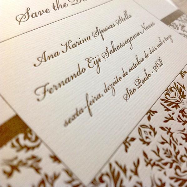 Save The Date em Letterpress de Ana Karina e Fernando