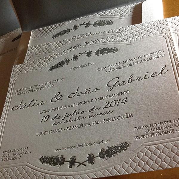 Convite de Casamento em Letterpress de Júlia e João Gabriel
