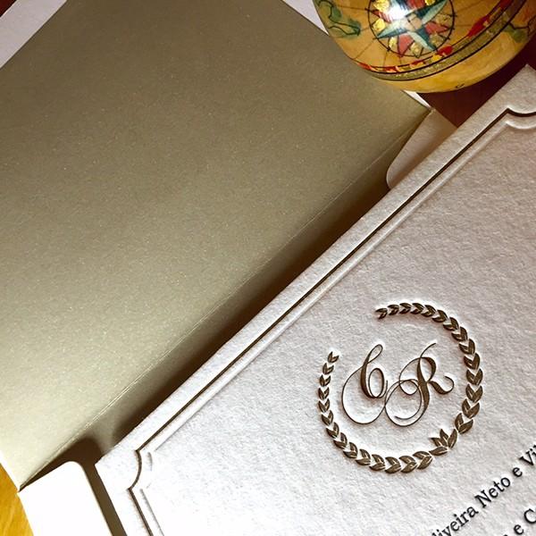 Convite de Casamento em Letterpress de Caroline e Ricardo