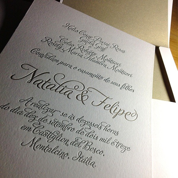 Convite de Casamento em Letterpress de Natália e Felipe