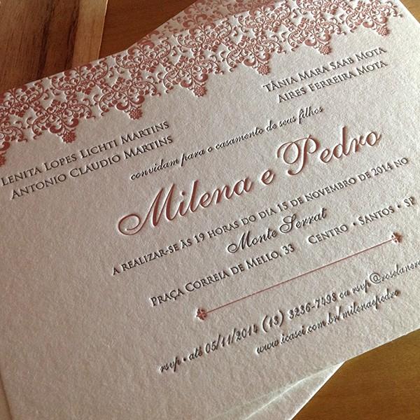 Convite de Casamento em Letterpress de Milena e Pedro