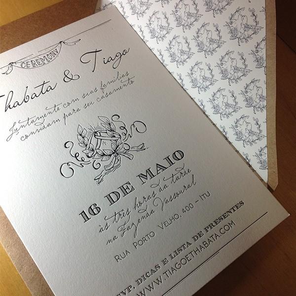Convite de Casamento em Letterpress de Thabata e Tiago