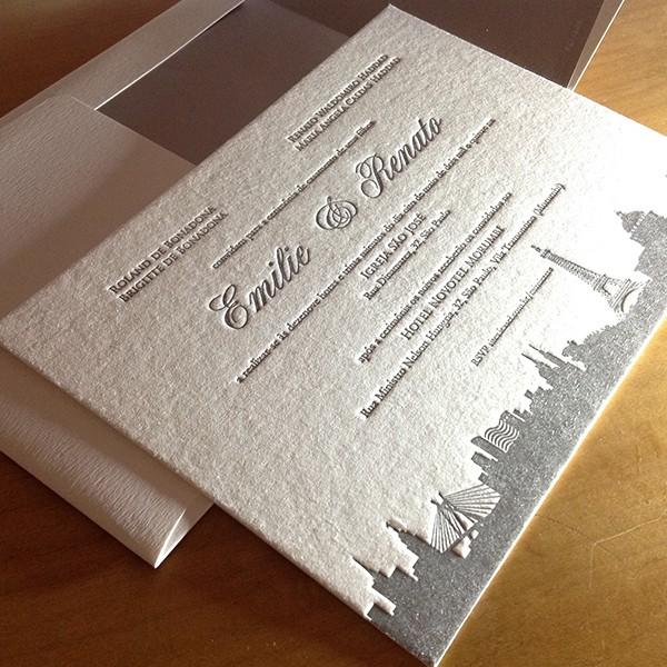 Convite de Casamento em Letterpress de emilie e Renato