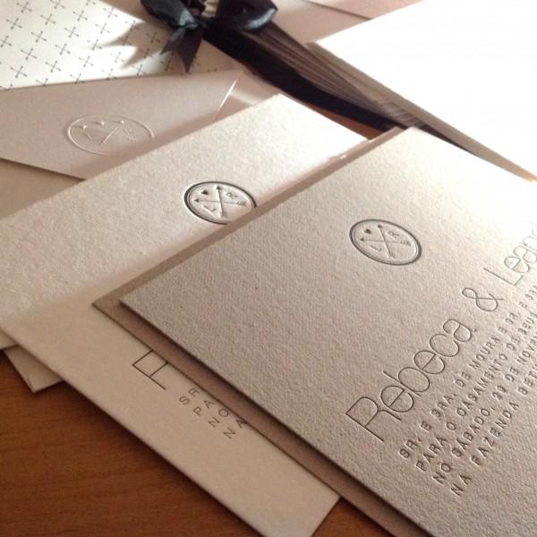 Convite de Casamento em Letterpress de Rebeca e Leandro
