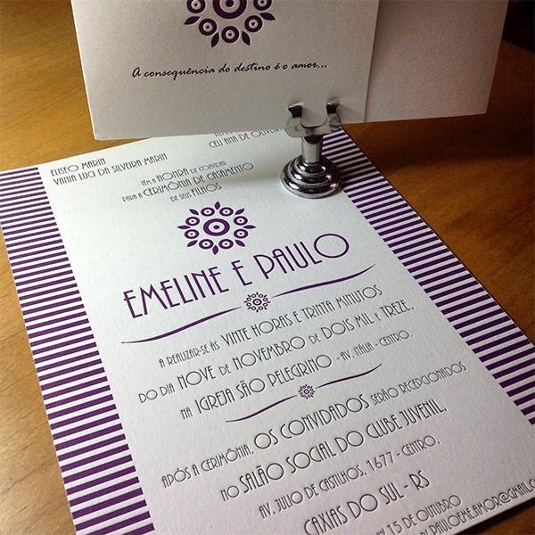 Convite de Casamento de Emeline e Paulo