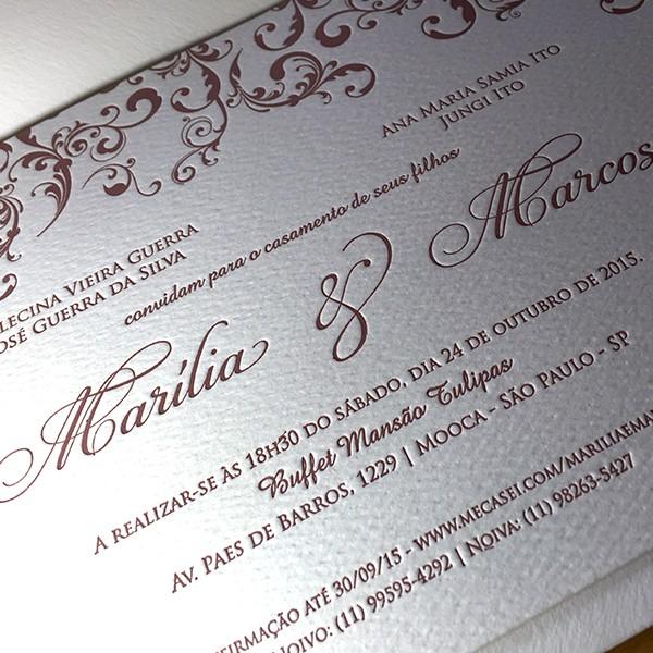 Convite de Casamento em Letterpress de Marília e Marcos