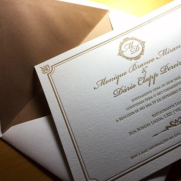 Convite de Casamento em Letterpress de Monique e Dário