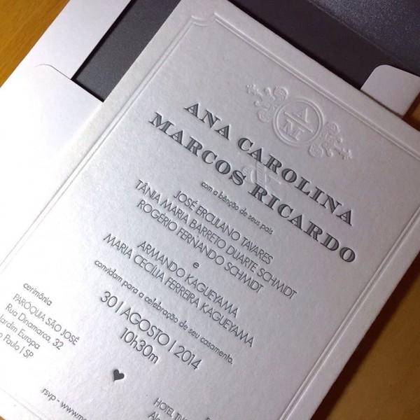 Convite de Casamento em Letterpress de Ana Carolina e Marcos
