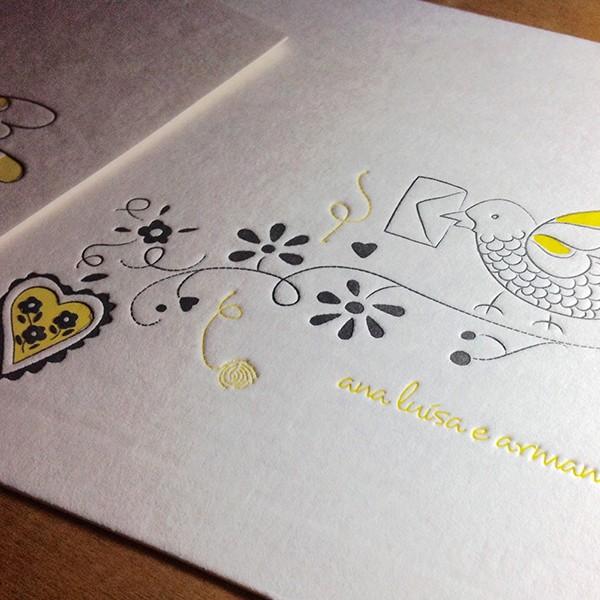 Convite de Casamento em Letterpress de Ana Luísa e Armando