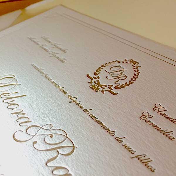 Convite de Casamento em Letterpress de Débora e Rafael