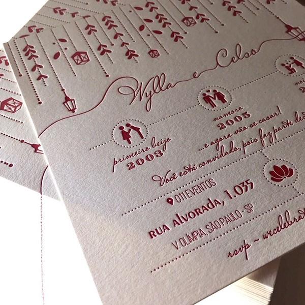 Convite de Casamento em Letterpress de Wylla e Celso