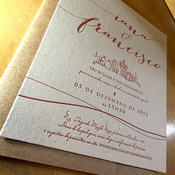 Convite de Casamento em Letterpress de Iana e Francisco