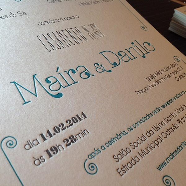 Convite de Casamento em Letterpress de Maíra e Danilo