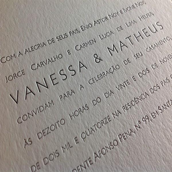 Convite de Casamento em Letterpress de Vanessa e Matheus