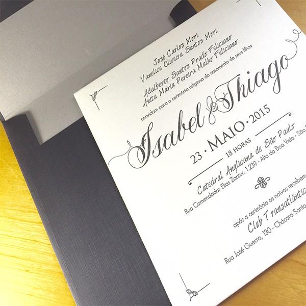 Convite de Casamento em Letterpress de Isabel e Thiago
