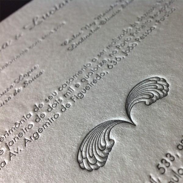 Convite de Casamento em Letterpress de Clarissa e Luciano